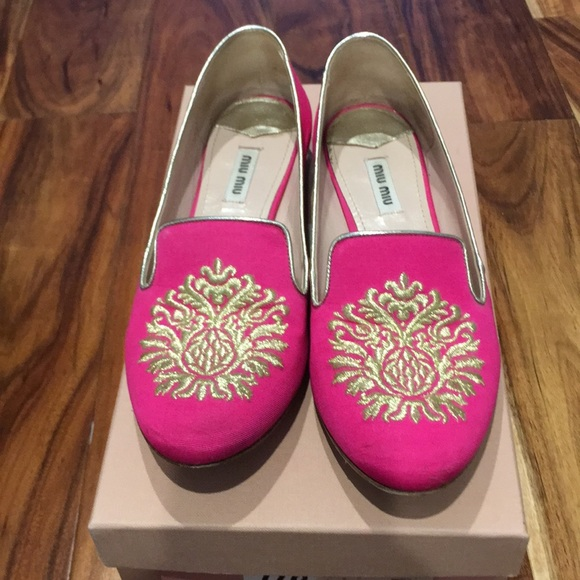 84883322128e Miu Miu hot pink loafer with gold and stones. M 5a7f635aa44dbe8c5bf5b9d7